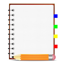 pencil and notebook, on a white background