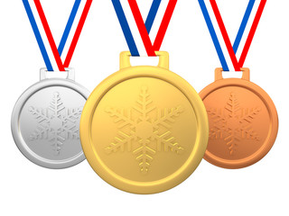 Winter games medals 3d render