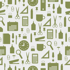 Seamless pattern with office stationery icons