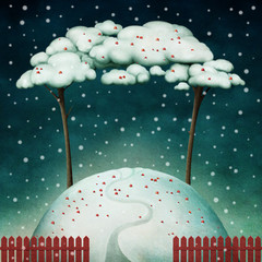 Dwa drzewa na zaśnieżonym wzgórzu