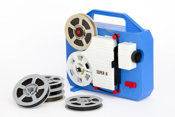 Toy blue and white movie projector