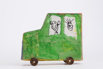 Green carboard handmade car