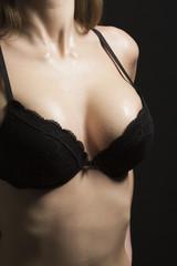 Wet breast in bra