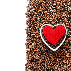 Roasted Coffee Beans with Red Heart over coffee beans background