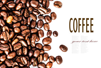 Closeup of roasted coffee beans  heap. Coffee Beans background t