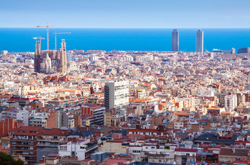 view of Barcelona and Mediterranean