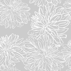 Seamless background with hand drawn  peonies flowers. Vector
