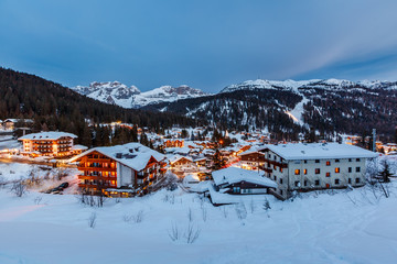 Fototapete - Illuminated Ski Resort of Madonna di Campiglio in the Evening, I