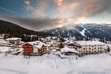 Fototapete - Ski Resort of Madonna di Campiglio in the Morning, Italian Alps,