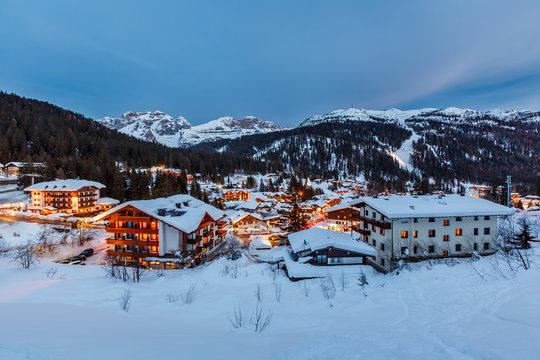 Illuminated Ski Resort of Madonna di Campiglio in the Evening, I