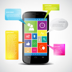 Touchscreen smartphone with colorful icons. Vector  Infographic