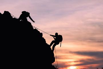 Aluminium Prints Mountaineering dağcı iple tırmanış