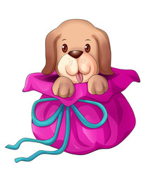 Cartoon illustration of a puppy pop up from gift wrap