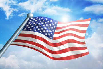 American flag waving against the cloud background