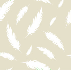 Beige pattern with white feathers vector