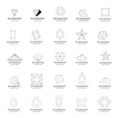 Diamond Icons Set - Isolated On White Background