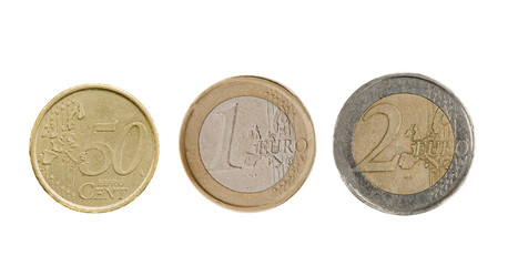 Three Euro coins isolated