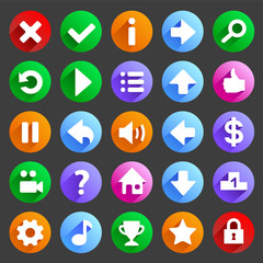 Flat and round game icons