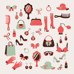Woman accessories icons set