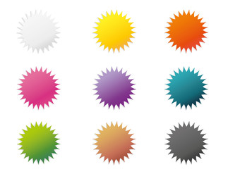 Set of 9 colorful stickers
