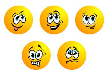 Five cute yellow vector emoticons