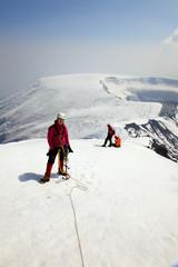 Alpinist on the top of Ostriy Tolbachik volcano.
