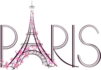 Tower Eiffel with Paris lettering. Vector illustration