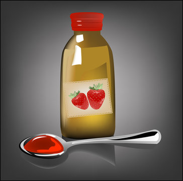 illustration of medical strawberry syrup