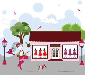 Cartoon of Woman window shopping with dog