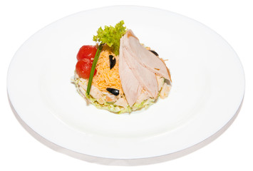 Salad vegetable with tomato cherry cheese olive lettuce and