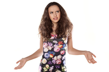 confused girl model with a questioning look