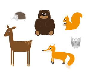 zwierzęta leśne -  zestaw - wektory