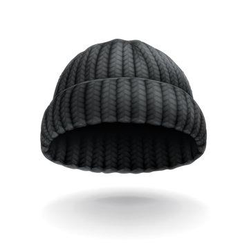 Beanie, black cap vector icon