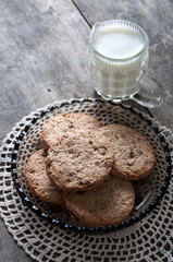 chocolate chip cookies and milk