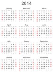 Calendar for the year 2014
