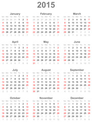 Calendar for the year 2015
