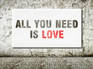 All you need is love, words on wall