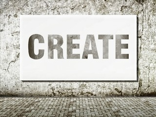Create, word on wall