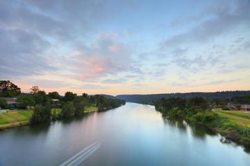 Rural River Sunrise Morning Landscape