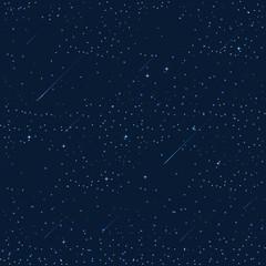 night sky with stars, moon, meteorites