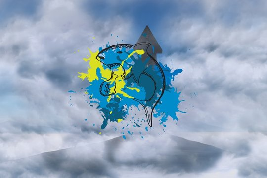 Composite image of loan shark on paint splashes
