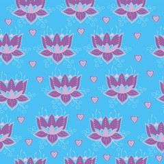 Floral background. Lotus flower pattern.Vector art