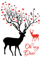 Oh my deer, reindeer with red hearts, vector