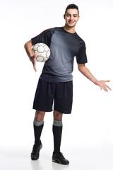 junger Fussballer offene Geste