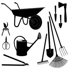 Gardening tools icon set. Garden equipment silhouette.
