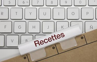 Recettes. Clavier