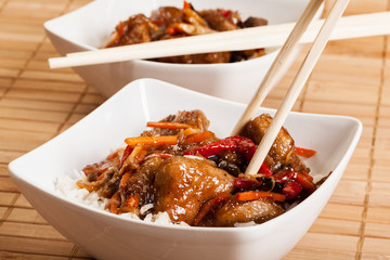 Sweet and sour pork and rice