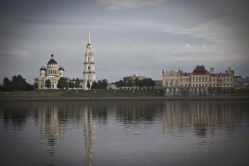 Skyline of Rybinsk embankment with dark vignette