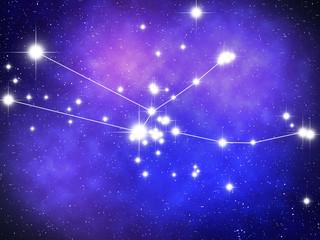 Taurus Zodiac sign bright stars in cosmos