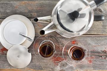 Preparing cups of Turkish tea